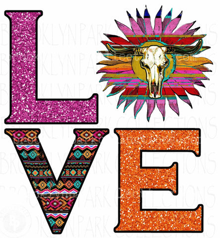 LOVE, Southwest Art, Aztec Bull Skull Sunflower, SUBLIMATION TRANSFER, Ready To Press, - Brooklyn Park Collections LLC
