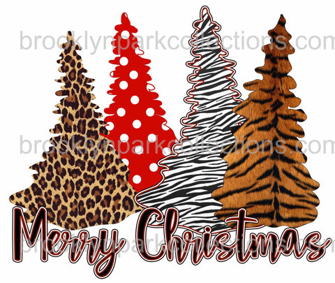 Merry Christmas, Animal Print Trees, Leopard, SUBLIMATION TRANSFER, Ready to Press - Brooklyn Park Collections LLC