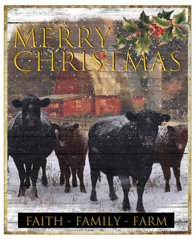 Merry Christmas, Faith Family Farm, Cattle, Digital Design, Instant Download, Art Print, Sublimation PNG - Brooklyn Park Collections LLC