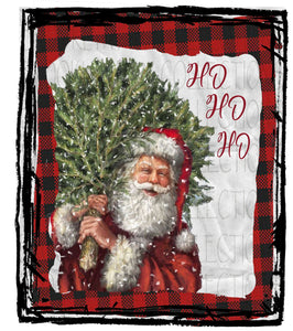 Merry Christmas, Vintage Santa, Tree, Buffalo Plaid, SUBLIMATION TRANSFER, Ready to Press - Brooklyn Park Collections LLC