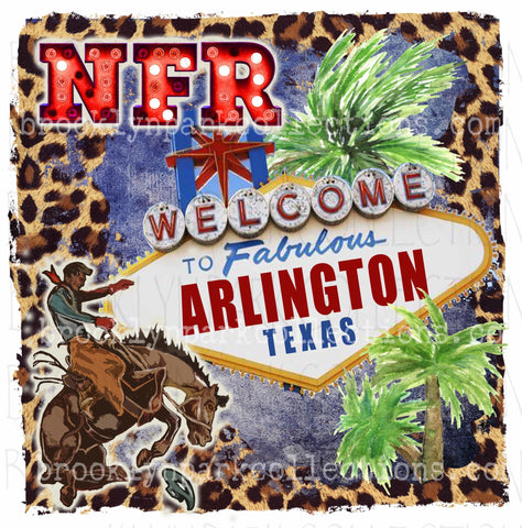 NFR, Arlington Tx, Vegas Sign Art, Rodeo, Leopard, Instant DIGITAL Download, Sublimation PNG, - Brooklyn Park Collections LLC