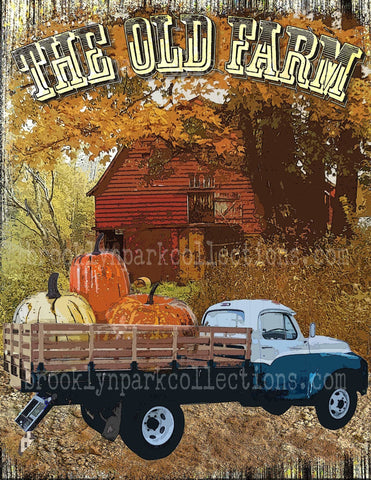 Old Farm, Barn, Vintage Truck, Autumn Fall, Instant Digital Download, Sublimation PNG, Art Print - Brooklyn Park Collections LLC
