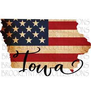 Primitive Iowa American Flag Tea Stained Instant Download Digital Clip Art Sublimation  PNG - Brooklyn Park Collections LLC