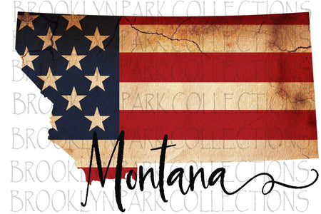 Primitive Montana American Flag Tea Stained Instant Download Digital Clip Art Sublimation  PNG - Brooklyn Park Collections LLC