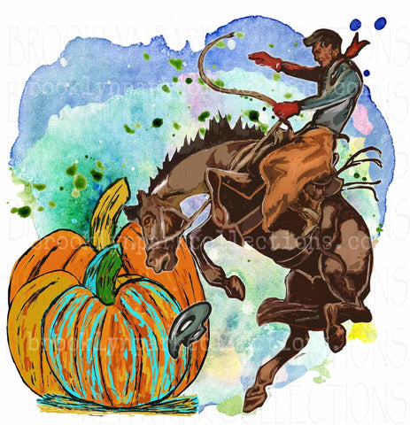 Pumpkins, Rodeo Cowboy, Bucking Horse, Watercolor, Digital Download, Art Print, Sublimation PNG, - Brooklyn Park Collections LLC