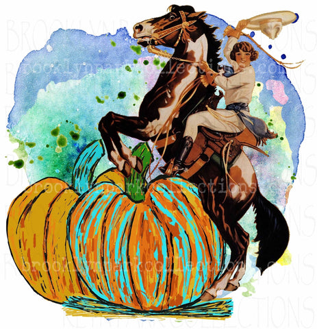 Pumpkins, Rodeo Cowgirl, Bucking Horse, Watercolor, Digital Download, Art Print, Sublimation PNG, - Brooklyn Park Collections LLC