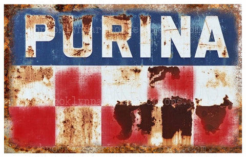 PURINA Feed Sign, Rustic, Vintage, Farm, SUBLIMATION TRANSFER, Ready To Press, - Brooklyn Park Collections LLC