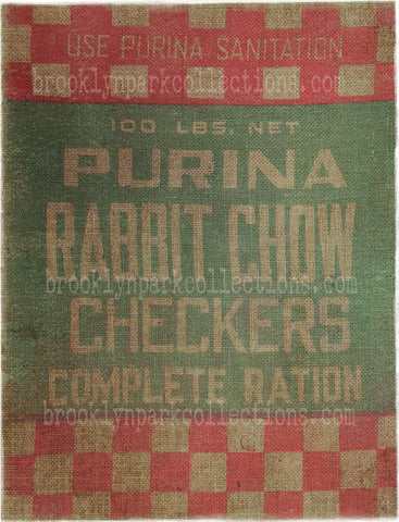 Purina, Rabbit Chow, Feed Sack, SUBLIMATION TRANSFER, Ready To Press, - Brooklyn Park Collections LLC