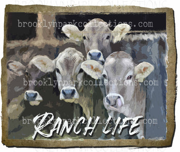 Ranch Life, Watercolor Cattle, Farm, SUBLIMATION TRANSFER, Ready To Press - Brooklyn Park Collections LLC