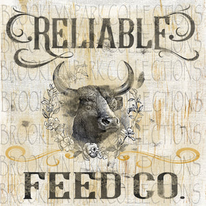 Reliable Feed Co. - Farmhouse -  Vintage Feed Sack Sublimation Transfer - T Shirt - Pillow - Brooklyn Park Collections LLC