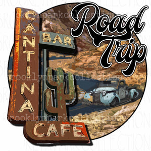 Road Trip, Vintage Truck, Southwest Cactus Art, SUBLIMATION TRANSFER, Ready To Press, - Brooklyn Park Collections LLC