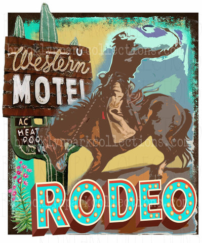 Rodeo, Bucking Horse, Western, Cactus, Vintage, INSTANT DIGITAL Download, Sublimation PNG, Art Print - Brooklyn Park Collections LLC