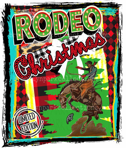Rodeo Christmas, Bucking Horse, Limited Edition, SUBLIMATION TRANSFER, Ready To Press, - Brooklyn Park Collections LLC