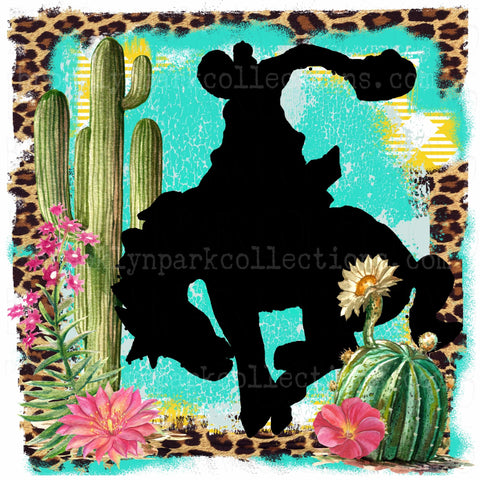 Rodeo Cowboy, Bucking Horse, Cactus, Leopard, SUBLIMATION TRANSFER, Ready To Press, - Brooklyn Park Collections LLC