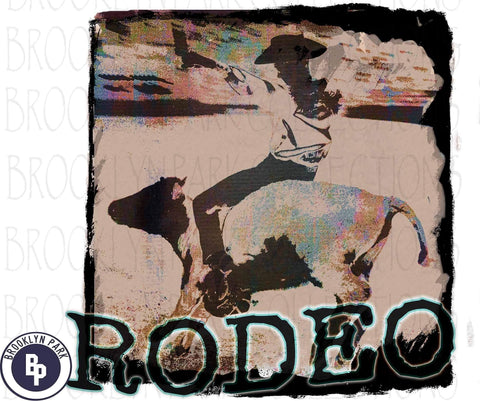 Rodeo Cowboy, Steer Riding, Watercolor, SUBLIMATION TRANSFER, Ready To Press, - Brooklyn Park Collections LLC