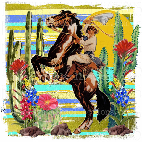 Rodeo Cowgirl, Cactus, Flowers, Horse, Art Graphics, SUBLIMATION TRANSFER, Ready To Press, - Brooklyn Park Collections LLC