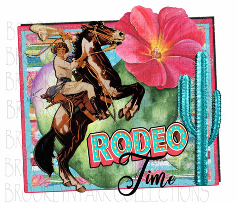 Rodeo Time, Cowgirl, Bucking Horse, Cactus, SUBLIMATION TRANSFER, Ready To Press, Pink Floral - Brooklyn Park Collections LLC