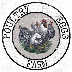 Roosters, Chickens, Eggs, Farm House, SUBLIMATION TRANSFER, Ready To Press - Brooklyn Park Collections LLC