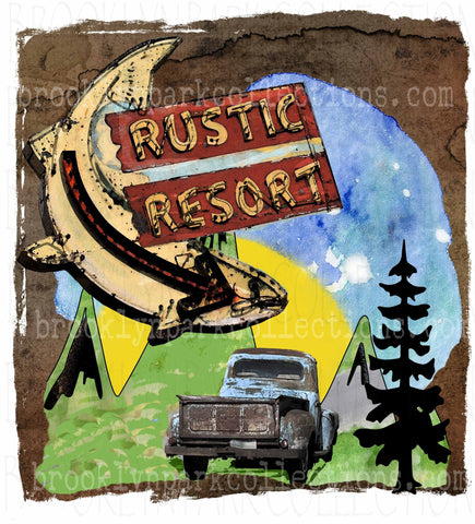 Rustic Resort, Fishing, Camping Mountains, SUBLIMATION TRANSFER, Ready To Press, - Brooklyn Park Collections LLC