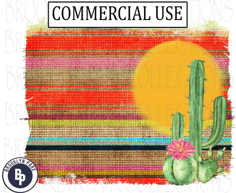 Serape Sunset Frame, Watercolor Cactus, Art Print, Digital Design, Instant Download, Sublimation PNG Commercial - Brooklyn Park Collections LLC