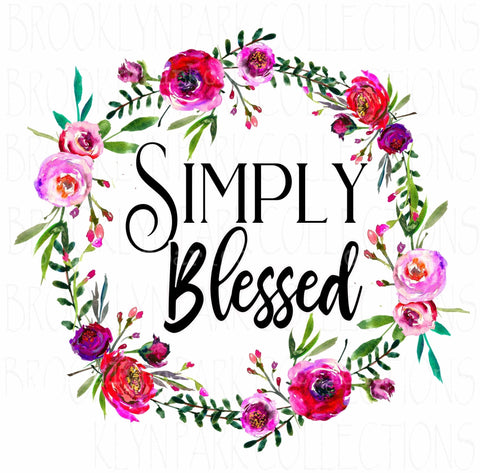 Simply Blessed, Wildflowers, Wreath, DIGITAL DOWNLOAD, Sublimation PNG, Art Print, - Brooklyn Park Collections LLC