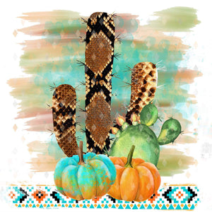 Snake Skin Cactus, Pumpkins, Aztec, Watercolor, Sublimation Transfer, Ready To Press, Rattlesnake - Brooklyn Park Collections LLC