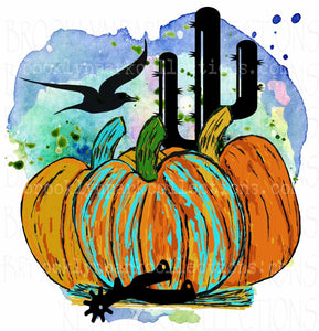 Southern Pumpkins Art, Cactus, Spur, Watercolor, SUBLIMATION TRANSFER, Ready to Press - Brooklyn Park Collections LLC
