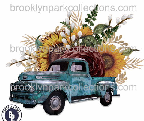 Sunflower Floral, Vintage Blue Truck, SUBLIMATION TRANSFER, Ready To Press, - Brooklyn Park Collections LLC