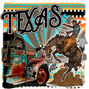 TEXAS, Rodeo Bucking Horse, Vintage Truck, Aztec, SUBLIMATION TRANSFER, Ready To Press, Aztec - Brooklyn Park Collections LLC