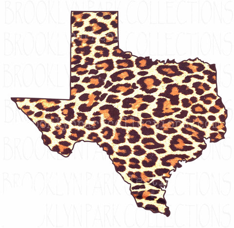Texas State, Leopard Print, SUBLIMATION TRANSFER, Ready To Press, - Brooklyn Park Collections LLC
