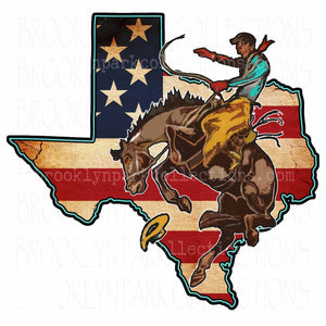 Texas State, Rodeo Cowboy, American Flag, SUBLIMATION TRANSFER, Ready To Press, - Brooklyn Park Collections LLC