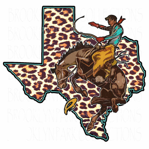 Texas State, Rodeo Cowboy, Leopard Print, SUBLIMATION TRANSFER, Ready To Press, - Brooklyn Park Collections LLC