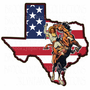 Texas State, Rodeo Cowgirl, Bucking Horse, American Flag, SUBLIMATION TRANSFER, Ready To Press, - Brooklyn Park Collections LLC