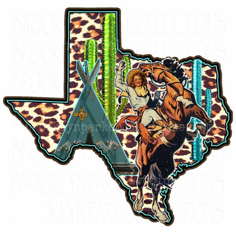 Texas State, Rodeo Cowgirl, Bucking Horse, Leopard Print, SUBLIMATION TRANSFER, Ready To Press, - Brooklyn Park Collections LLC
