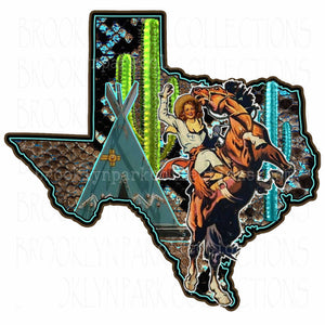 Texas State, Rodeo Cowgirl, Bucking Horse, Snakeskin, SUBLIMATION TRANSFER, Ready To Press, - Brooklyn Park Collections LLC