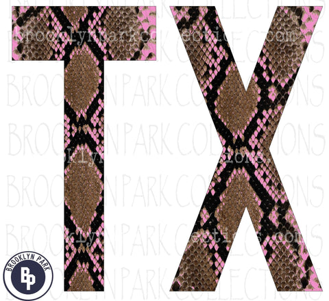 Texas, TX, Rattlesnake Skin, Pink, SCREEN PRINT Transfer, Ready To Press, - Brooklyn Park Collections LLC