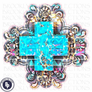 Turquoise Watercolor Cross, SUBLIMATION TRANSFER, Ready To Press, Christian - Brooklyn Park Collections LLC
