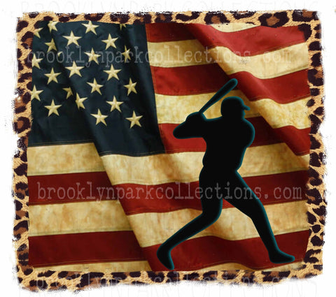 Vintage American Flag, Baseball, Leopard Print, SUBLIMATION TRANSFER, Ready To Press, - Brooklyn Park Collections LLC