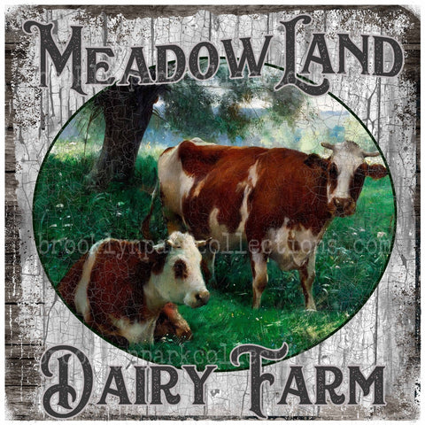 Vintage Art, Dairy Farm, Farmhouse, SUBLIMATION TRANSFER, Ready To Press, pillow, fabric, flags - Brooklyn Park Collections LLC