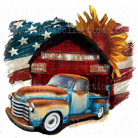 Vintage Barn, Rustic Truck, USA Flag, Sunflower, Instant Digital Download, Sublimation PNG,  Art Print, - Brooklyn Park Collections LLC