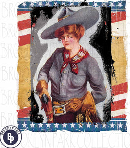 Vintage American Cowgirl, Instant Digital Design, Art Print, Sublimation PNG - Brooklyn Park Collections LLC