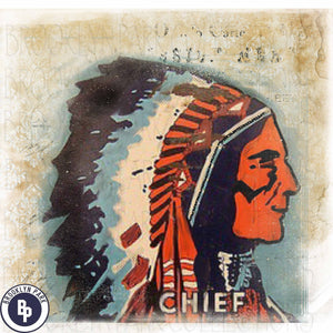 Vintage Indian Chief, Vintage Distressed, Sign Art, SUBLIMATION TRANSFER, Ready To Press, - Brooklyn Park Collections LLC