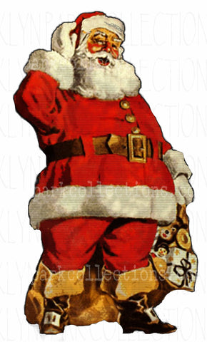 Vintage Santa Claus, SUBLIMATION TRANSFER, Ready to Press - Brooklyn Park Collections LLC