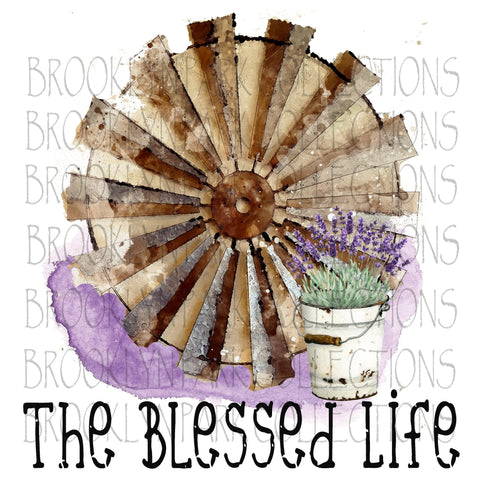 Image of Watercolor Farmhouse, The Blessed Life, Instant Digital Design, Art Print, Sublimation PNG - Brooklyn Park Collections LLC