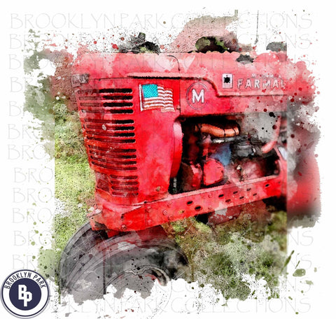 Watercolor Farm Tractor Digital Design Instant Download Sublimation PNG Commercial Use - Brooklyn Park Collections LLC