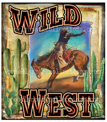 Wild West, Rodeo Bucking Horse, Southwest Cactus Art, SUBLIMATION TRANSFER, Ready To Press, - Brooklyn Park Collections LLC