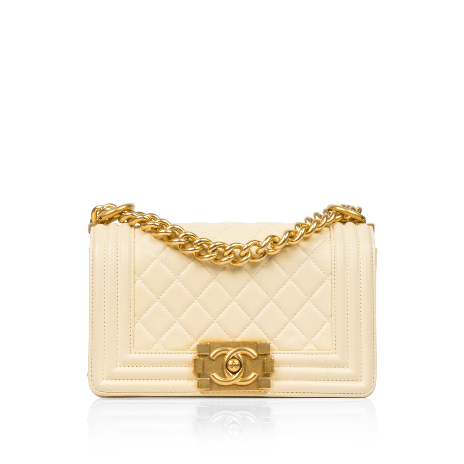 312058418a7a Chanel - Small Boy Bag - Cream Lambskin Leather - Gold Hardware ...