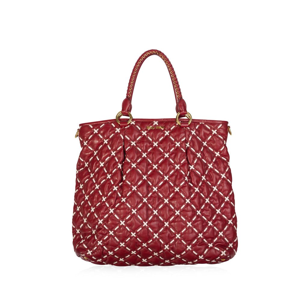Red and White Quilted Leather Big Tote