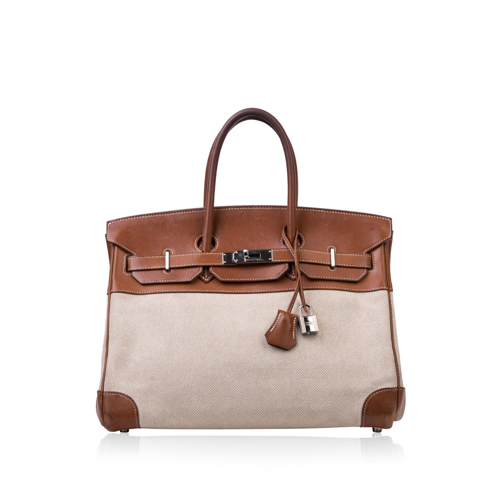 Birkin 35 - Barenia and Ecru Canvas