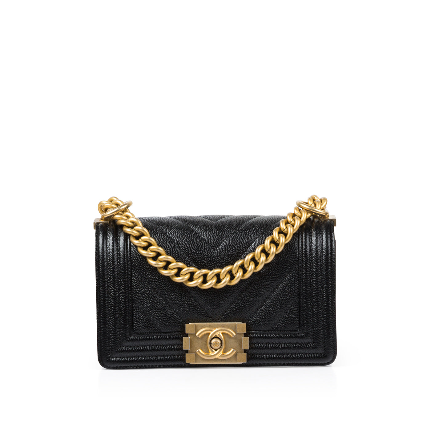 2c0f96384e72 Chanel - Small Boy Bag - Black Caviar Leather - Gold Hardware - New ...